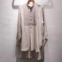 Длинная блузка Топ Женская летняя высокое качество шелковая блузка 2019 Элегантная с длинным рукавом женская новая полосатая блузка