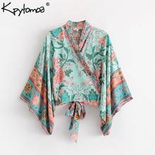 db8e6f807028 Boho Chic Summer Short Tops Vintage Peacock Floral Print Kimono Women 2019  Fashion Batwing Sleeve Beach