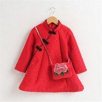 Girls Cheongsam Autumn And Winter Children S Cheongsam Plus Velvet Dress Baby Cheongsam Chinese Clothing New