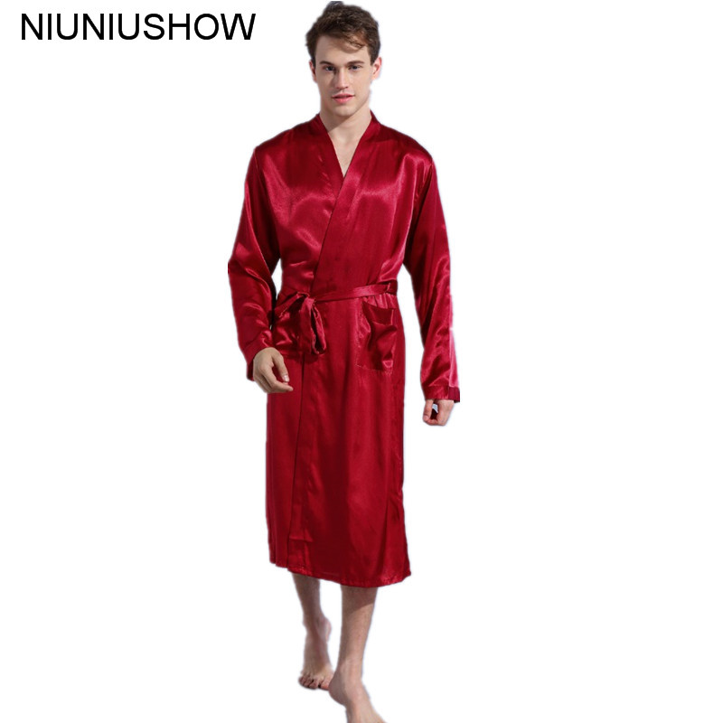 Burgundy Size S - XXL Chinese Men's Rayon Satin Casual Nightwear Robe Gown Solid Color Kimono Bathrobe Sleepwear Pajamas