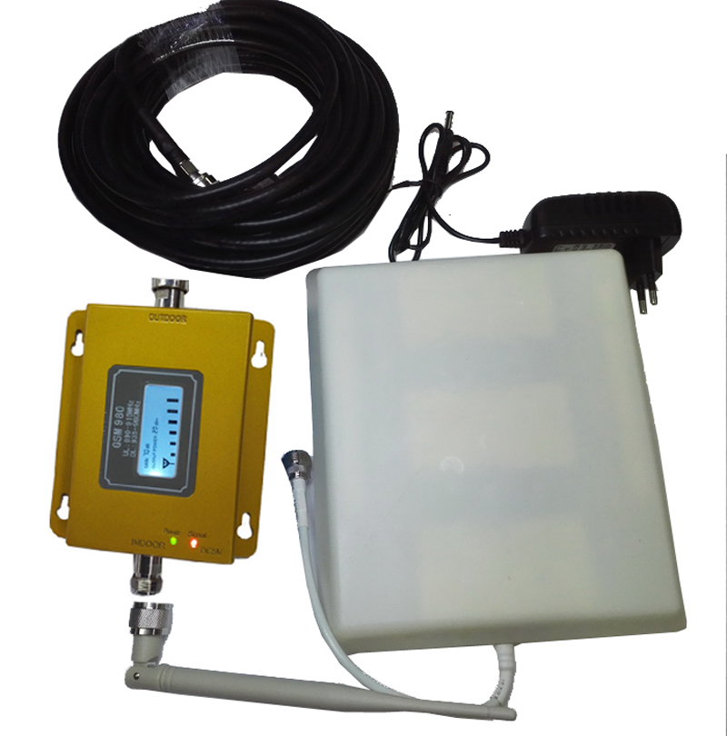 Gsm 980 GSM Booster W/ Panel Antenna 10meters With LCD Display Repeater 900Mhz Booster GSM Signal Enlarger,easy Use Booster
