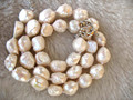 """wow! freshwater pearl  unique baroque white 9-13mm necklace 17"""" nature"""