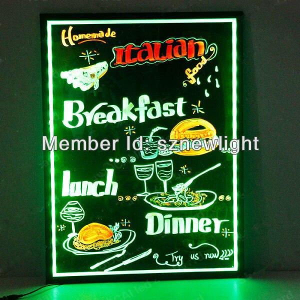 Sparkle erasable RGB acrylic handwriting led menu board for