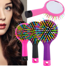 2016 New Rainbow Comb Volume Magic Hairbrush For Hair Tangle  Women Comb Candy With Mirror