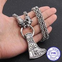 316L нержавеющая сталь Викинги волк Киль ожерелье с нордическая Руна подвеска в виде топора ожерелье как подарок для мужчин