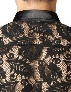 Image 4 - 남자의 잎 자수 투명 셔츠 슬림 피트 섹시한 Clubwear 드레스 셔츠를 통해 볼 남자 파티 이벤트 레이스 쉬어 탑스 블라우스