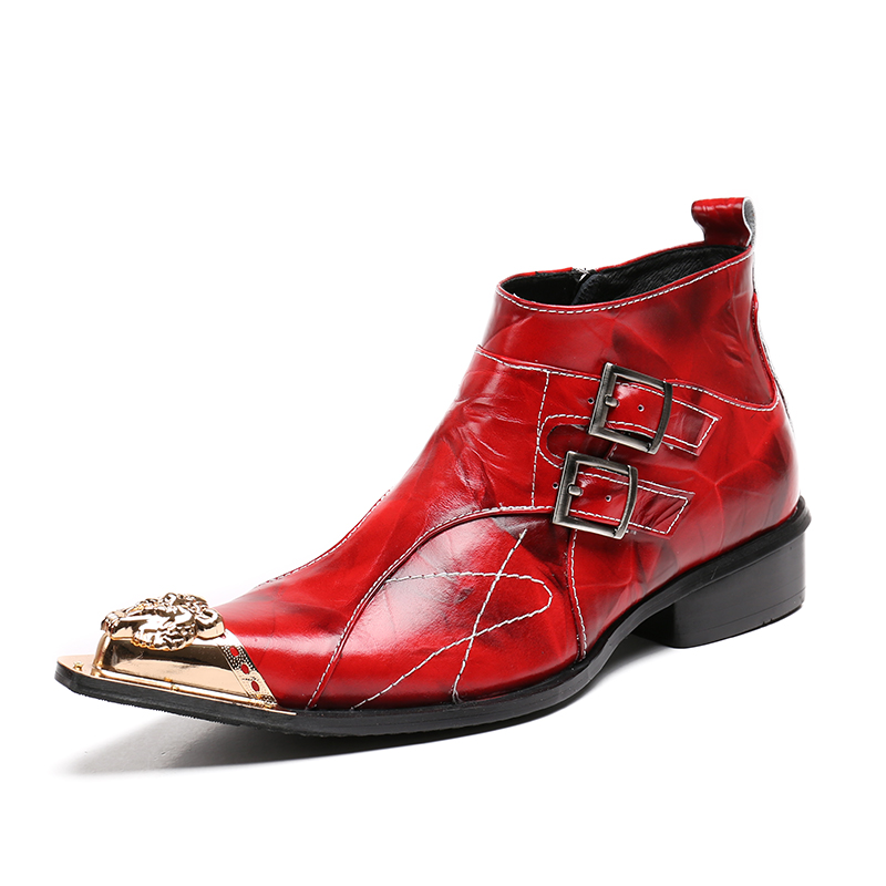 Batzuzhi Italian Style Men Boots Red Leather Ankle Boots Pointed Toe Metal Tip Fashion Dress Boots Man Botas Hombre, Big Size 46
