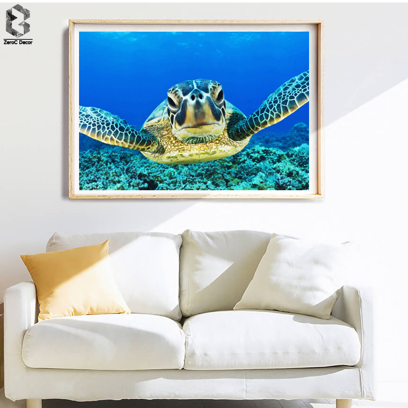 Blue World Watercolor Sea Turtle Wall Art Prints and Posters Canvas Painting Pictures For Living Room Tortoise Kids Home Decor