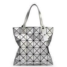 Large Capacity 2016 Women Bag Laser Flash Diamond Female Tote Bags Famous Brand Ladies Plaid Geometric Handbag