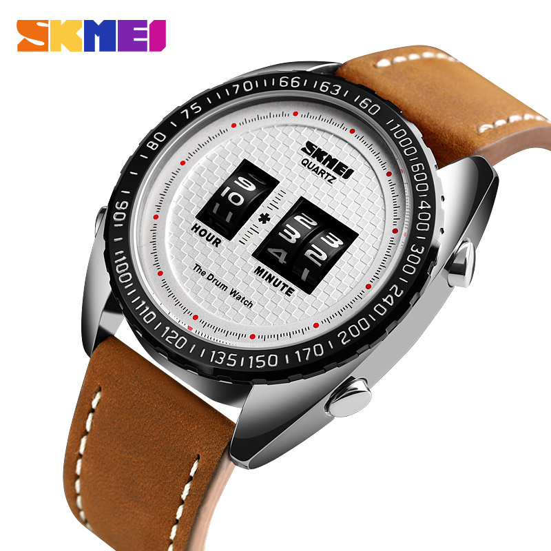 SKMEI Fashion Creative Men Digital Watches Outdoor Drum Casual Watches Waterproof Sports Watches Leather Strap Relogio Masculino