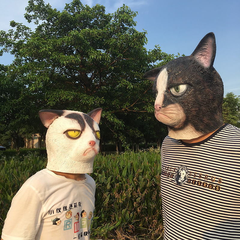 Image 2 - Funny Angry Cat Halloween Cosplay Animal Masks Full Face Mask Latex Horror Masquerade Party Cat Costume Adult MaskBoys Costume Accessories   -