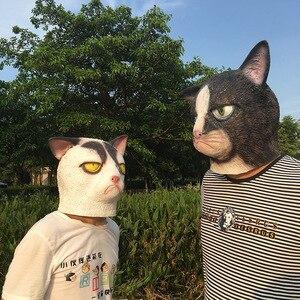 Image 2 - Mascarilla de látex con cara completa para adultos, máscara divertida de gato loco para Halloween, disfraz de gato para fiesta de miedo