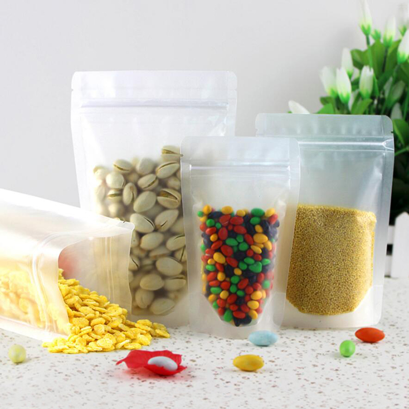 Home Storage & Organization 16*24cm 6.29x9.44 50pcs/lot Snack Tea Food Matte Clear Stand Up Valve Storage Package Bag Doypack Plastic Ziplock Bag Home & Garden