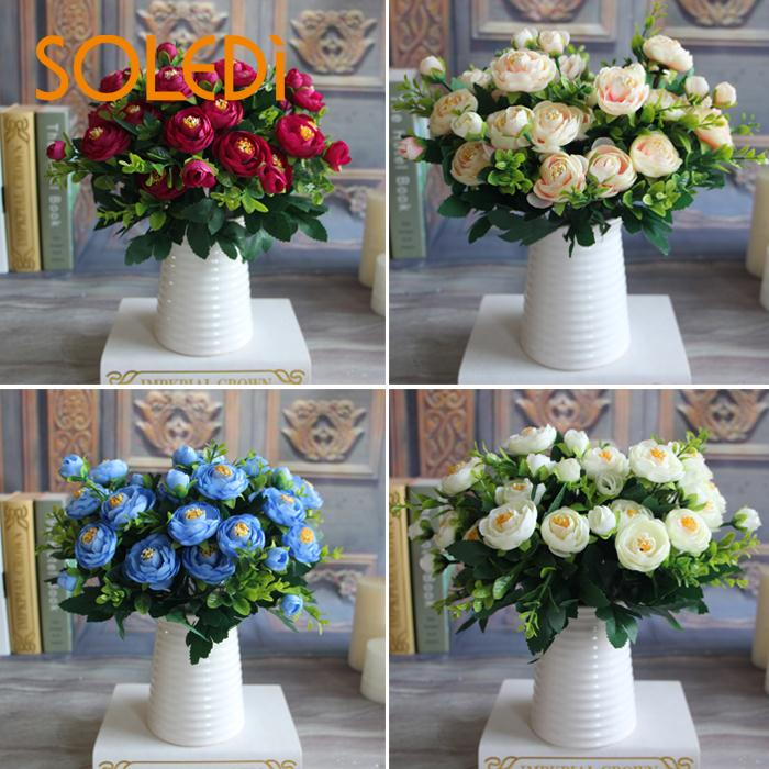 Soledi New Multi Color Realistic Spring Artificial Fake Peony Flower