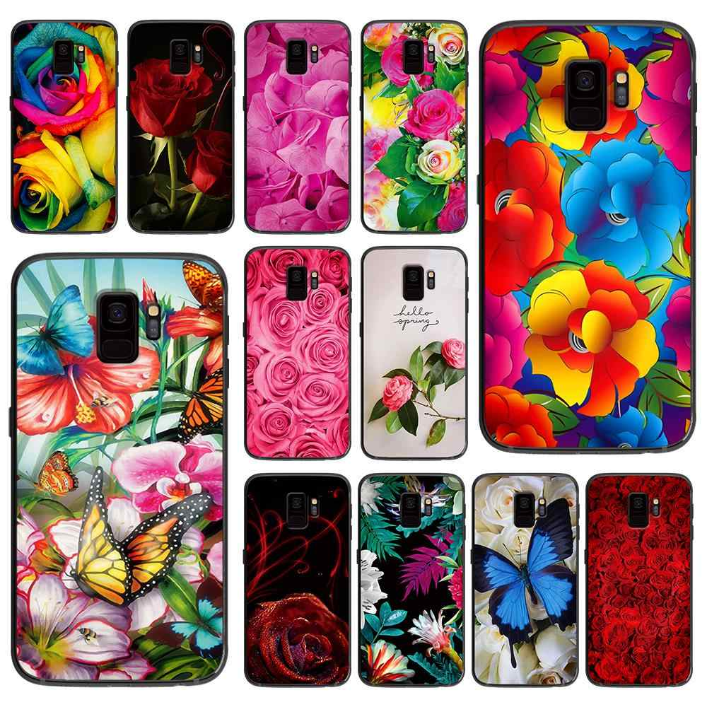 Red butterfly on white roses flower for Samsung Galaxy A5 A6 A7 A8 A9 2017 Phone Cover Plus M10 M20 M30 silicone phone cases