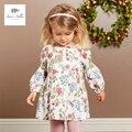 DB3633 дэйв белла осень девочка цветочные платья девушки классический цветок печатных платье день рождения платье baby дети костюмы