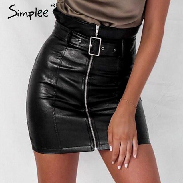 47c2e0958ccb Simplee Sash cremallera alta cintura Falda corta Sexy negro PU cuero lápiz  faldas Otoño Invierno mujeres streetwear