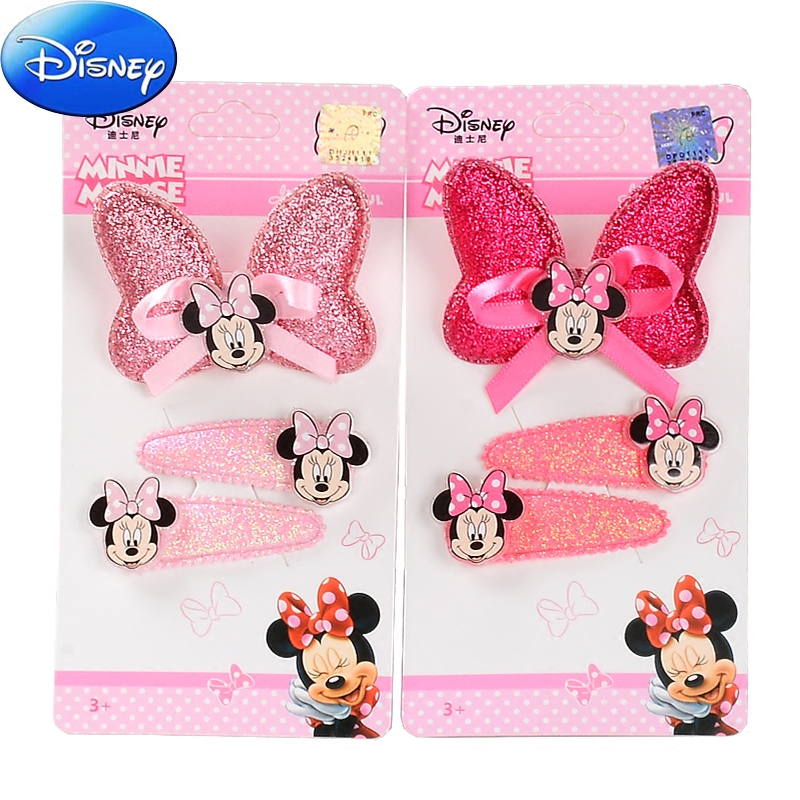 Disney 3pcs/set Kids Girl Hair Accessories Minnie Bowknot Hairpin Children Star Cartoon Crown Hair Clips Barrette Headwear 10pcs mix color barrette baby hair clip cute flower solid cartoon handmade resin children hairpin girl hair clip accessories