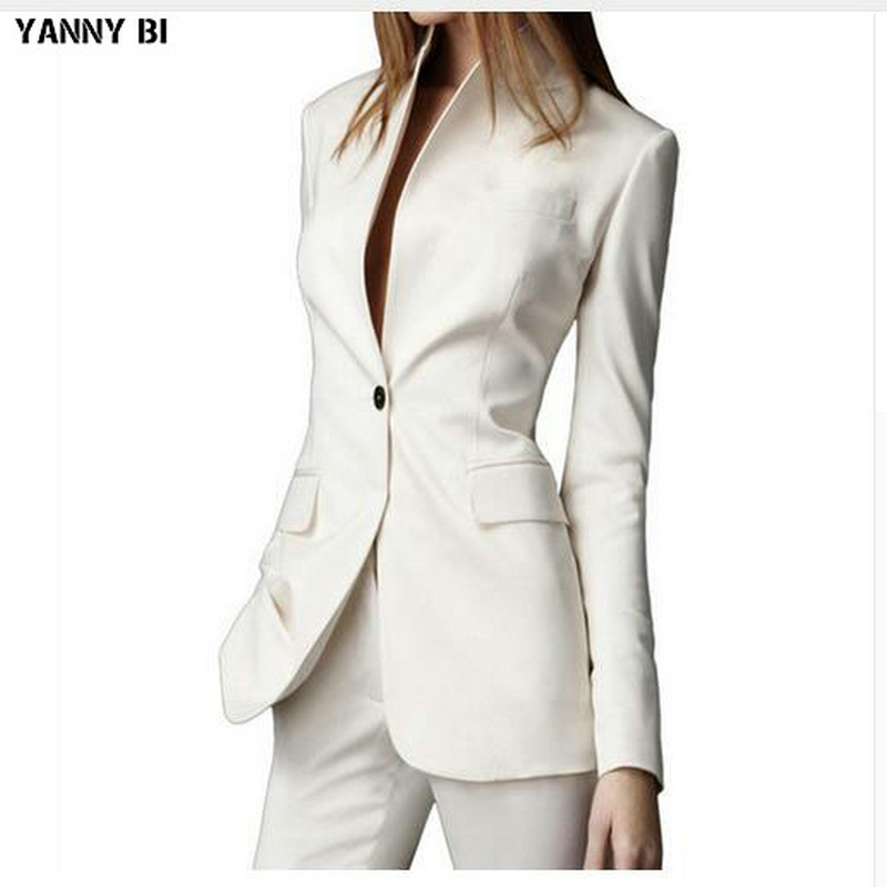 Custom Made Pant Suits White Casual Female Single Button Ladies' Business Suit Office Suits 2 Pieces Jacket+pants