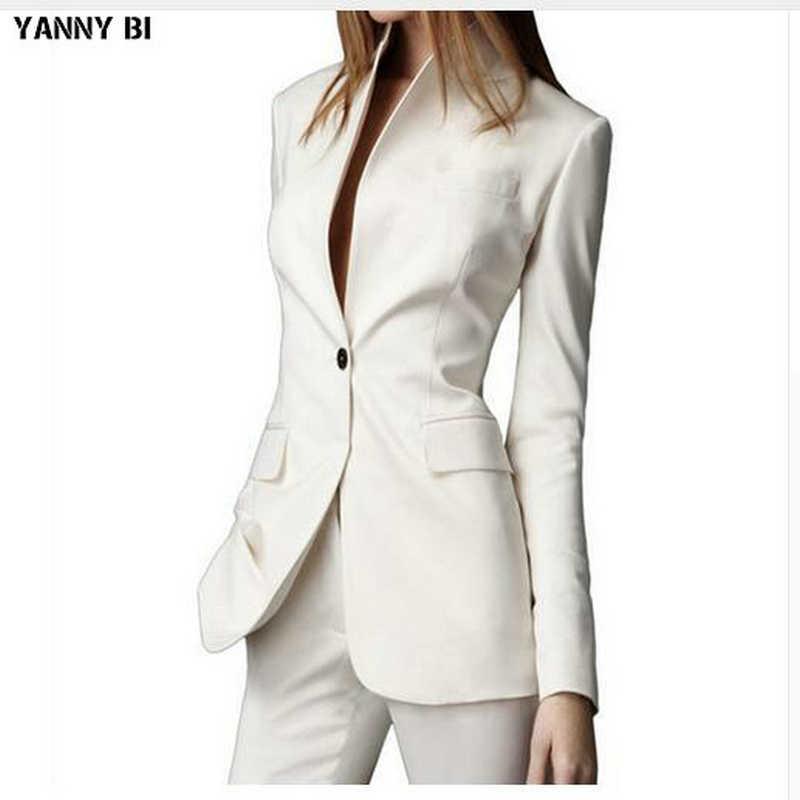 Custom made Pant Suits White Casual Female Single Button Ladies' Business Suit Office suits 2 Pieces jacket+pants