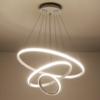 Verllas Modern Led Chandeliers For Dining Kitchen Room Aluminum White Hanging Chandelier Lighthing Circle Ring Modern Chandelier