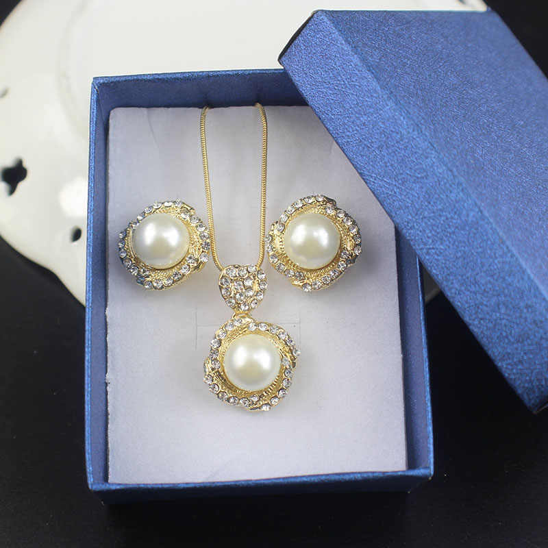 jiayijiaduo Bridal necklace earrings for women jewelry sets imitation pearl pendant gold color Mother's Day gift Love 965