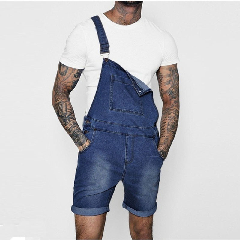 MORUANCLE Fashion Men Short Denim Bib Overalls Summer   Jeans   Shorts Jumpsuits For Male Suspender Pants Size S-XXL Pink Blue Gray