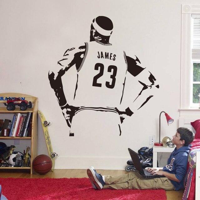 New design nba james wall sticker vinyl diy home decor basketball player decals sport star for
