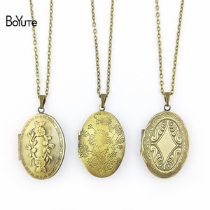 BoYuTe Retail 1 Piece 70CM Chain 23*38MM Oval Floating Photo Locket Necklace Pendant Open Necklace(China)