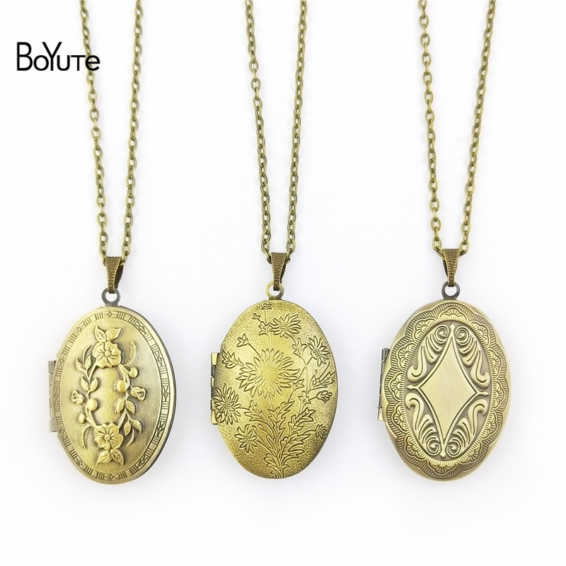 BoYuTe Retail 1 Piece 70CM Chain 23*38MM Oval Floating Photo Locket Necklace Pendant Open Necklace