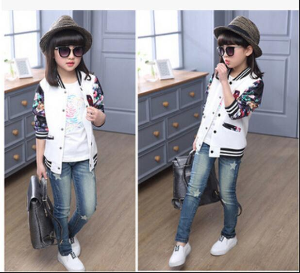 a40468c989f3 Jeans para niñas pantalones de mezclilla de alta calidad para niñas patrón  de estrella carta niños pantalones para niñas otoño primavera ropa de bebé  para ...
