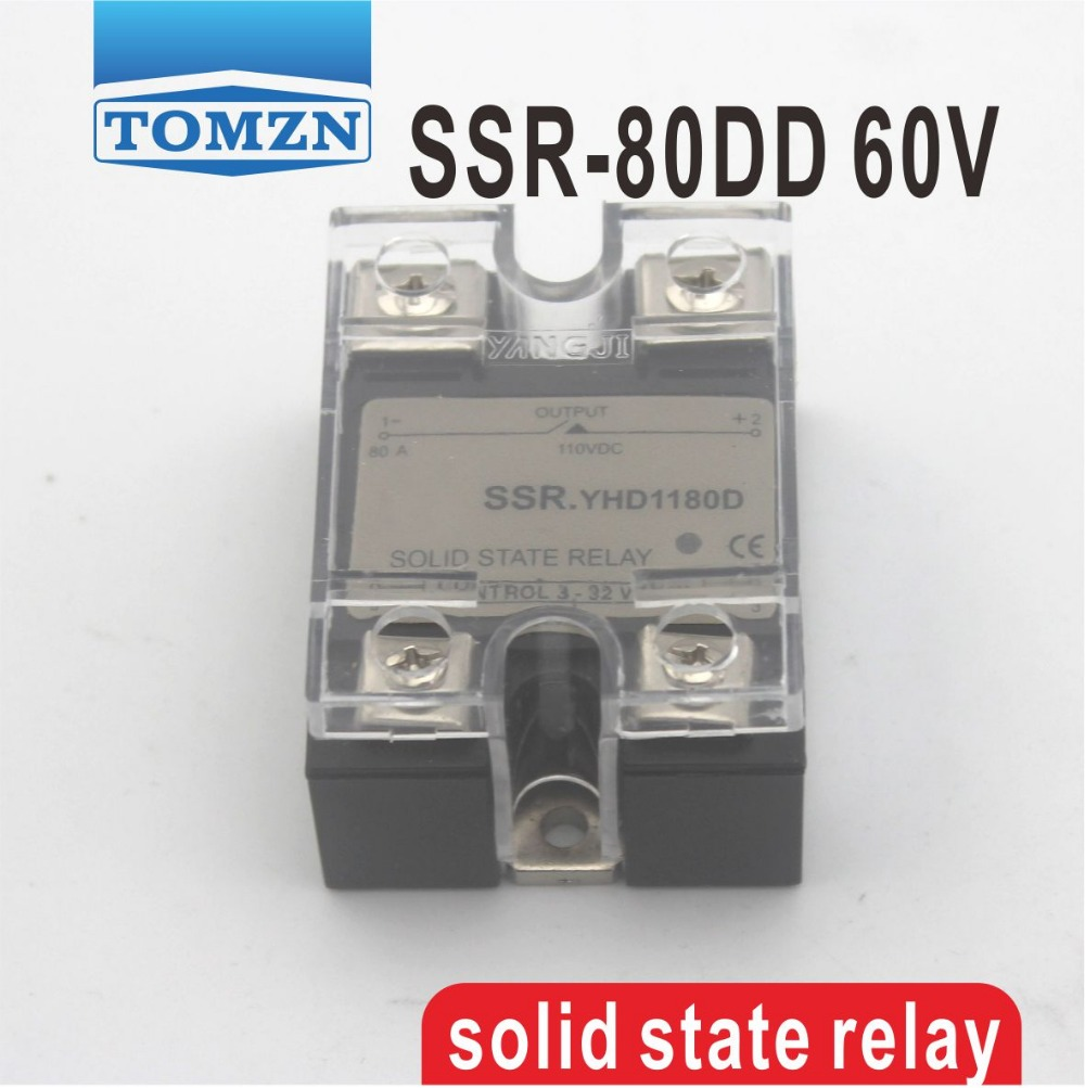 80DD SSR Control voltage 3~32VDC output 5~60VDC DC single phase DC solid state relay 20dd ssr control 3 32vdc output 5 220vdc single phase dc solid state relay 20a yhd2220d
