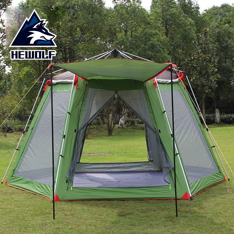 Loisirs de plein air famille Camping 5-8 personne Gazebo tente UV Polyester voyage automatique tente auvent pour la plage de fête