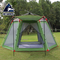 Outdoor Recreation Family Camping 5 8 Person Gazebo Tent UV Polyester Travel Automatic Tent Awning For Party Beach