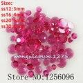 100-1000 pçs/saco, Nail Art, SS12/16/20/30, rosa escuro resina Transparente flatback strass cristal, para o caso de telefone, use cola, pregos