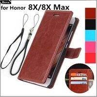 Para fundas Huawei Honor 8X titular de la tarjeta caso de la cubierta para Huawei Honor 8X Max de la caja del teléfono de cuero Honor 8X cartera flip cubierta