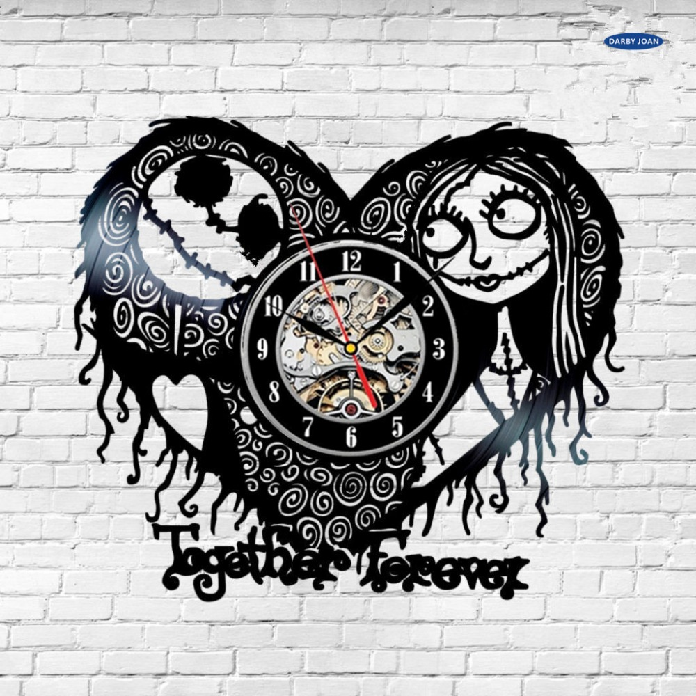 saat Nightmare Before Christmas Heart Vinyl Record Clock Modern ...