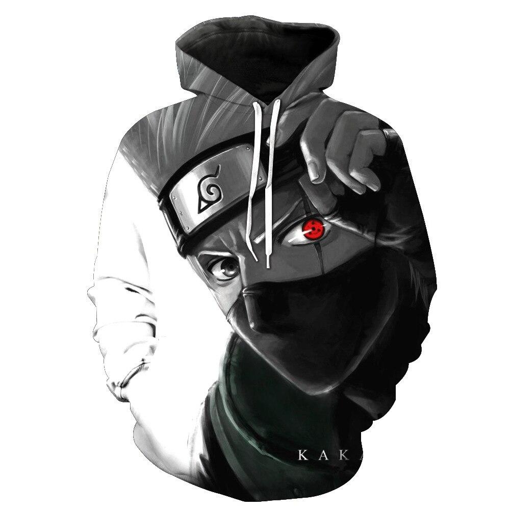 Hatake Kakashi  Fashion Swirl Sweatshirt 3D Print Hoodies  Naruto cosplay costume Coat Fancy Jacket for man woman(China)