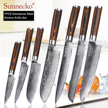 SUNNECKO Damascus Chef Kitchen Knives Set Paring Slicing Utility Bread Santoku Steel Japanese VG10 Blade Wood Handle