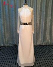 Jark Tozr Custom Made Long Sleeve Chiffon Elegant Bridal Gowns Gelinlik Gold Metal Sashes Beading Pearls Sheath Wedding Dresses