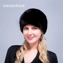 SHEGNXINXUE 2018 New Arrival women hats real mink fur hat for girls pompom caps  tails