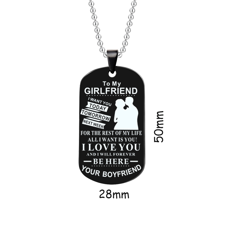 Stainless Steel Keychain Black Creative Alloy I Love You Pendant Necklace Couple Love Forever Necklace Valentine Day Jewelry in Pendants from Jewelry Accessories