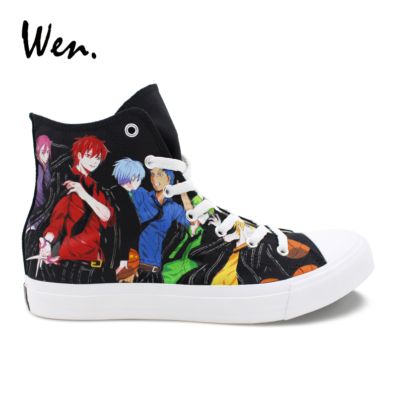 Wen Classic Black Shoes Hand Painted Design Kuroko's Basketball High Top Anime Canvas Sneakers Men Boys Athletic Gym Shoes wen design custom hand painted anime shoes grimgar of fantasy and ash high top women canvas sneakers men athletic skate shoes