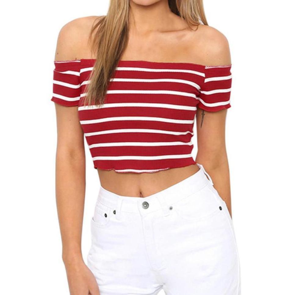 Горячая Распродажа женские футболки 2018 Для женщин Дамы с плеча короткий рукав полосатый Повседневное Топ Верхняя одежда летняя футболка B30