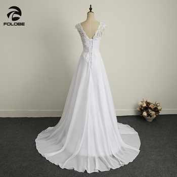 Simple V-neck Beads Lace Vestidos De Novia Backless Pleats Chiffon A-Line Beach Long Wedding Dresses Robe Marriage Bridal Gowns