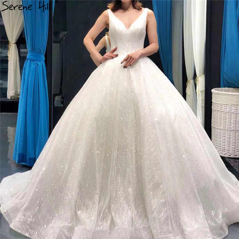 2f475634 White Deep V-Neck Sexy Glitter Wedding Dresses 2019 Sleeveless Princess  High-end Vintage