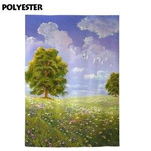 Image 3 - Фон для фотосъемки Allenjoy Весенняя живопись небо дерево цветы зеленая трава фон для фотосъемки Фотофон для фотостудии
