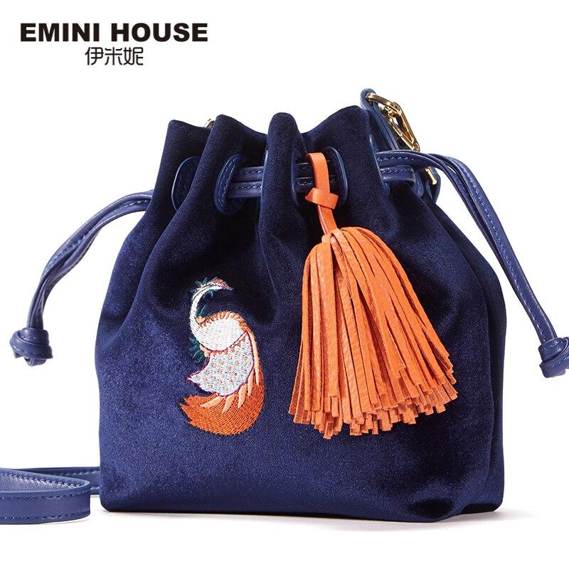 EMINI HOUSE Velour Genuine Leather Bucket Bag Drawing Women Messenger Bags Embroidery Tassel Fashion Crossbody Bags For Women fashion house