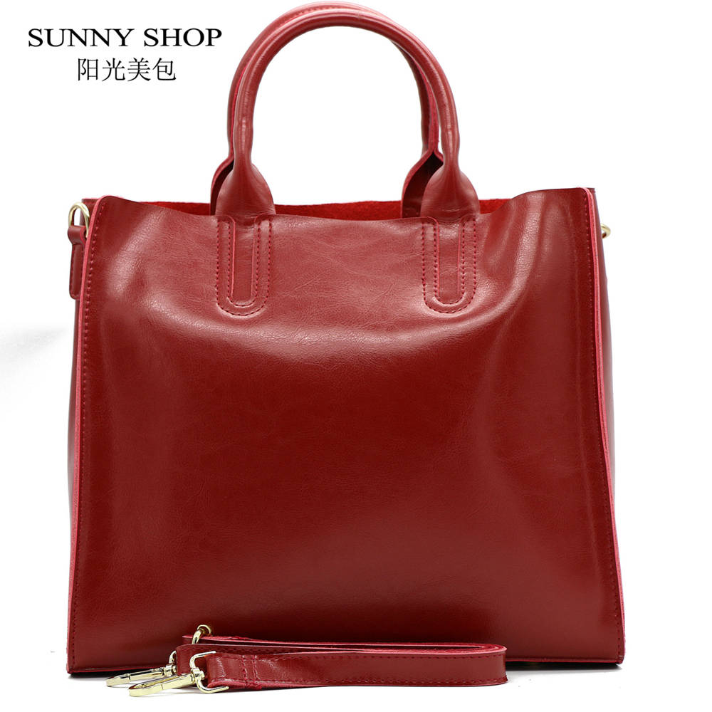 SUNNY SHOP  Autumn  Fashion 100%  Genuine Leather Women Shoulder Bag European Br
