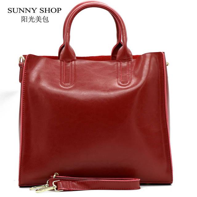 Sunny shop otoño moda 100% cuero genuino mujeres bolso de hombro bolso de compras del bolso de diseñador de la marca de cuero real europea